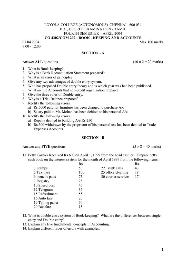 LOYOLA COLLEGE (AUTONOMOUS), CHENNAI –600 034 B A , DEGREE