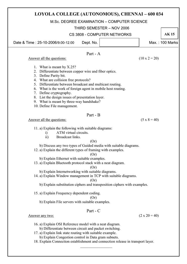 LOYOLA COLLEGE (AUTONOMOUS), CHENNAI – 600 034