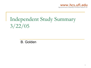 Independent Study Summary 3/22/05 B. Golden 1