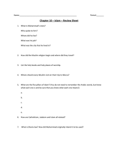 Chapter 10 – Islam – Review Sheet