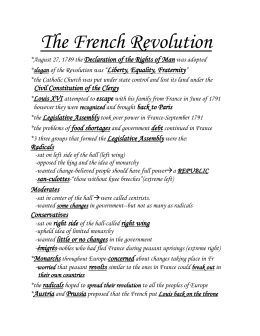 The French Revolution Declaration of the Rights of Man Liberty, Equality, Fraternity