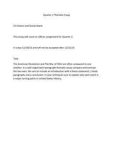 Quarter 2 Thematic Essay  US History and Government