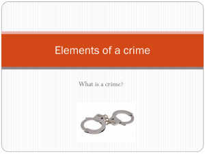 Elements of a crime What is a crime?