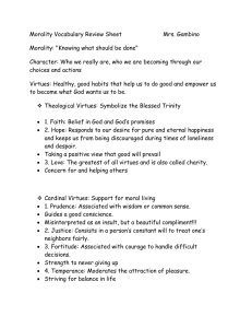 "Morality Vocabulary Review Sheet  Mrs. Gambino Morality: ""Knowing what should be done"""