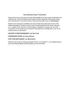 "Project ""Food Desert"" Second Quarter"