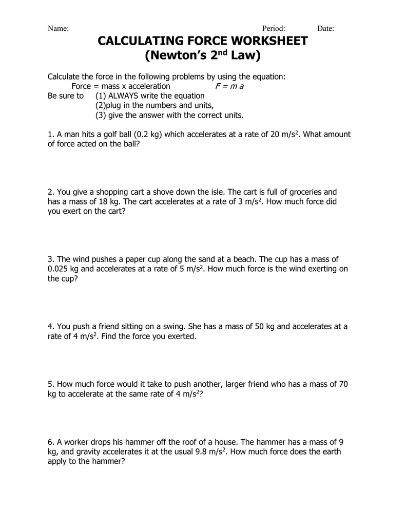 Calculating Force Worksheet Newton S 2 Law
