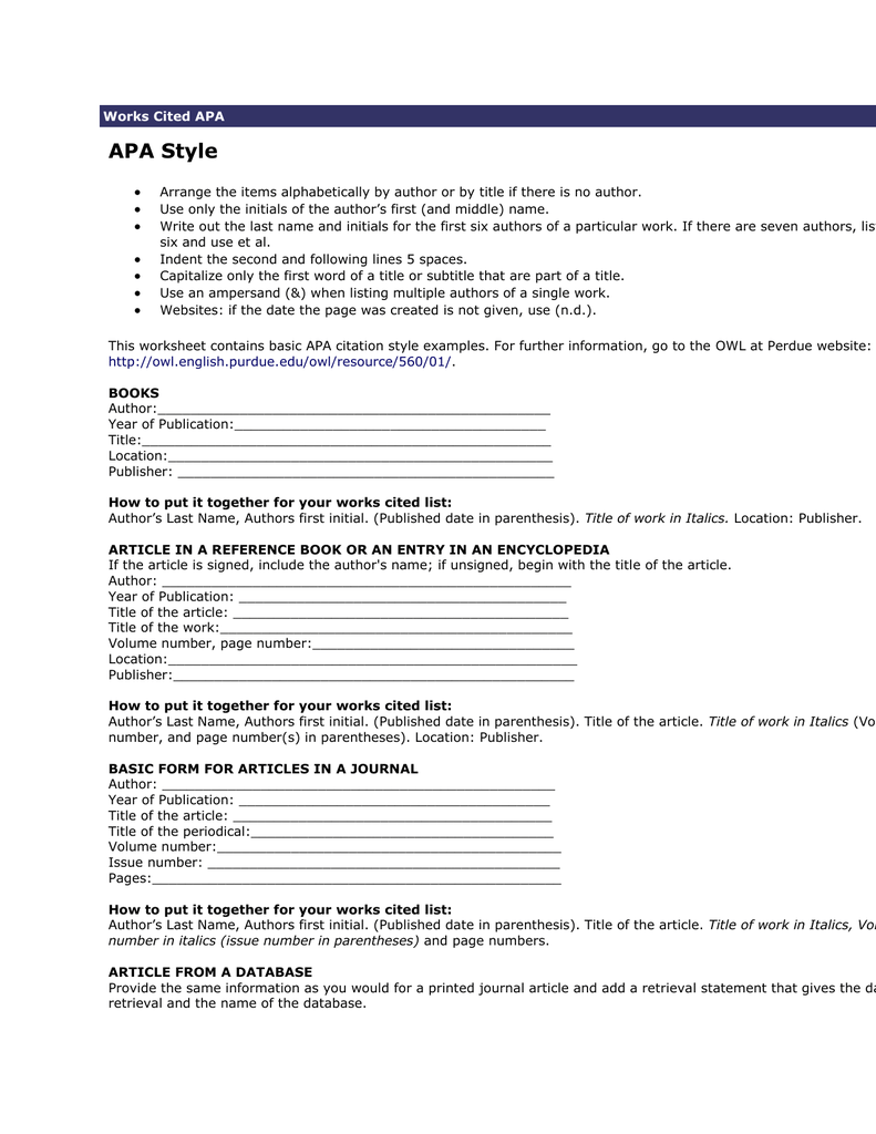 Print Owl At Purdue University Printable Handouts Using American  Psychological Association (apa) Format Docshare
