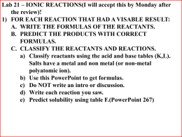 ionic reactions lab results