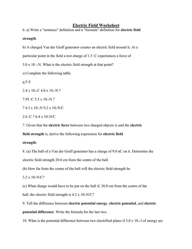 Electric Field Worksheet [ 1024 x 791 Pixel ]