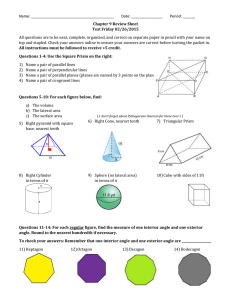 Name: ________________________________________        Date:... All questions are to be neat, complete, organized, and correct... Chapter 9 Review Sheet Test Friday 02/26/2015