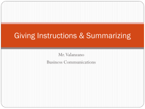 Giving Instructions & Summarizing Mr. Valanzano Business Communications