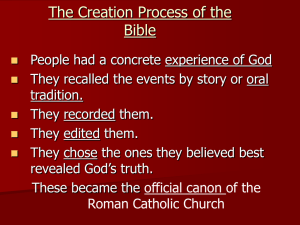 The Creation Process of the Bible