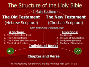 The Structure of the Holy Bible The Old Testament The New Testament