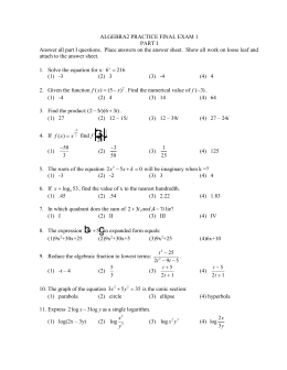 ALGEBRA2 PRACTICE FINAL EXAM 1 PART I