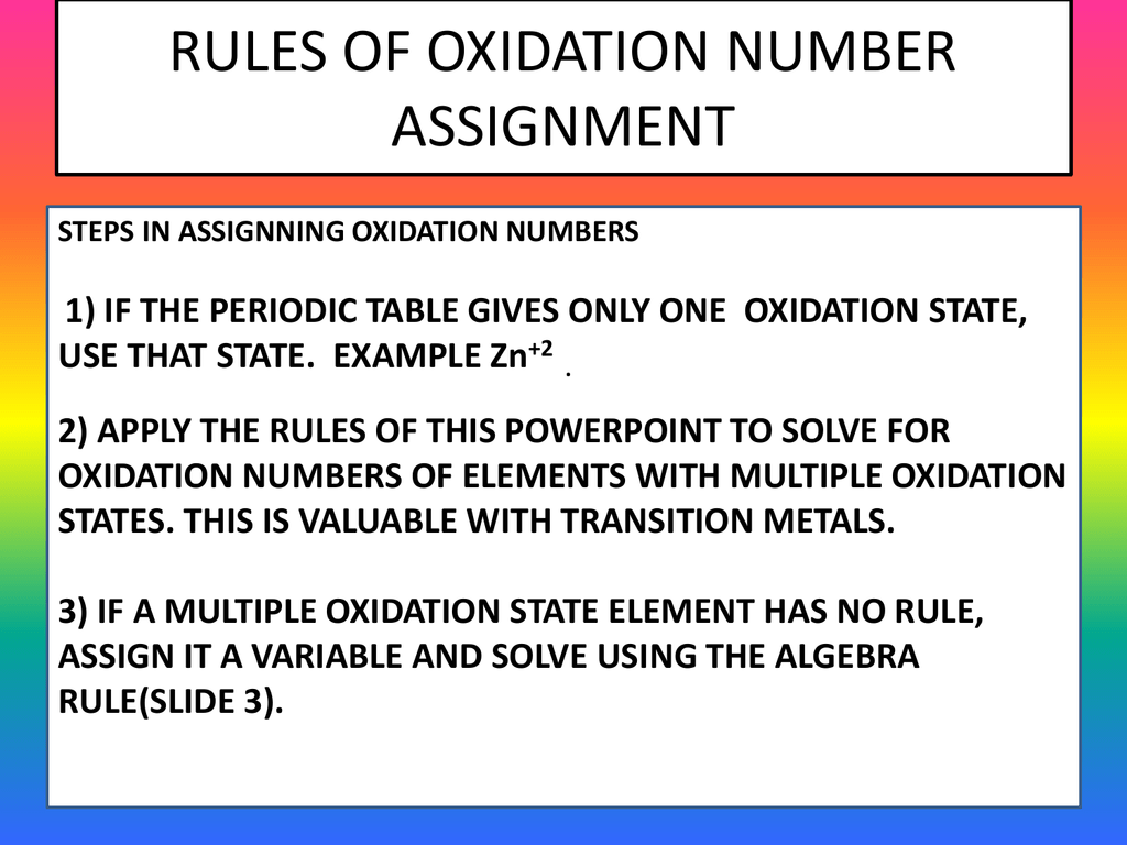 Rules of oxidation number assignment urtaz