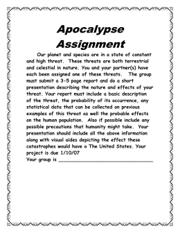 Apocalypse Assignment