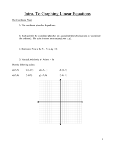 Intro. To Graphing Linear Equations