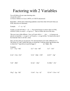 Factoring with 2 Variables
