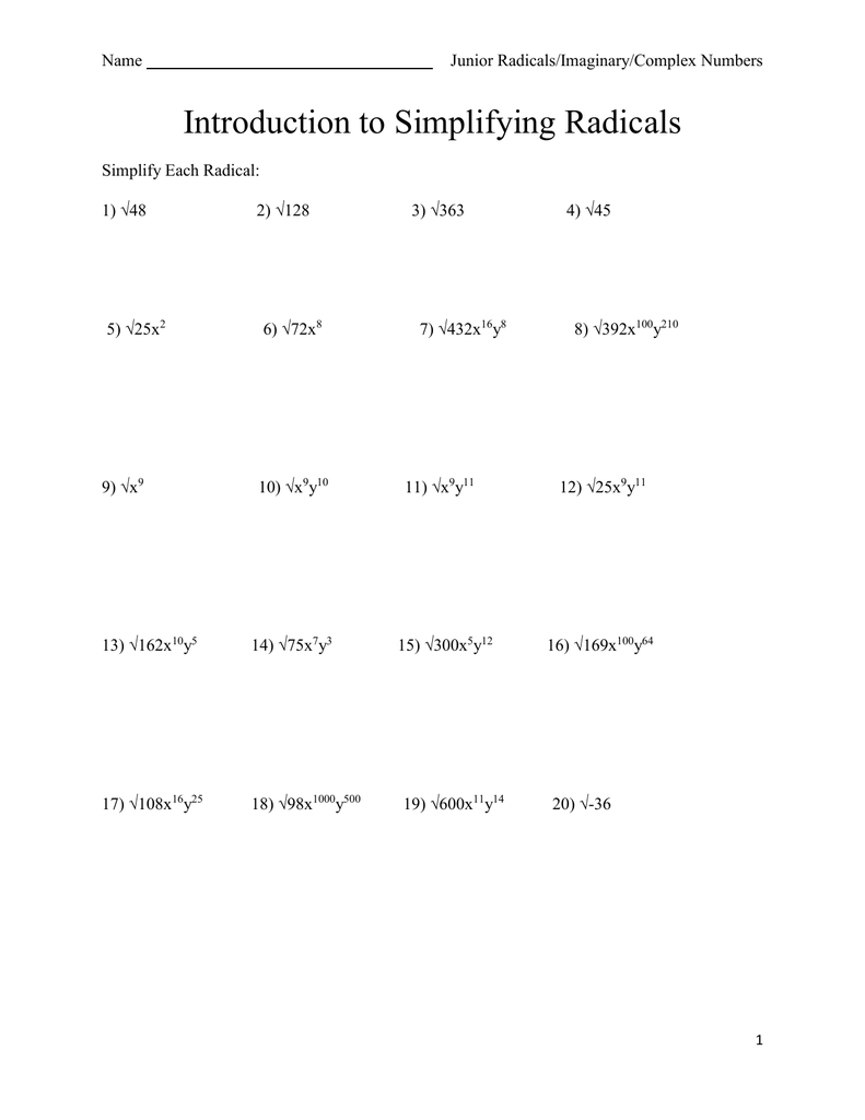 Introduction to Simplifying Radicals With Regard To Simplifying Radicals Worksheet 1