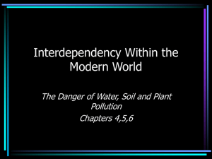 Interdependency Within the Modern World The Danger of Water, Soil and Plant Pollution