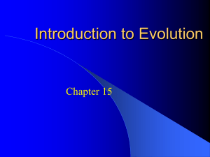 Introduction to Evolution Chapter 15