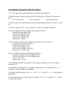 Coordinate Geometry Review Sheet: