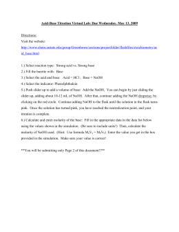 acid base titration lab conclusion