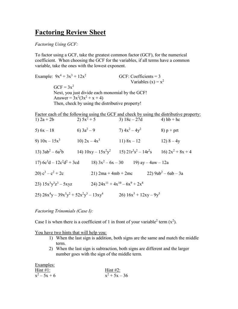 factoring review kuta