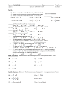Part 1 - ANSWER KEY Algebra I