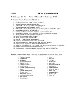 Biology Packet 10: Human Ecology