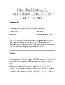 HOMEWORK AND ESSAY