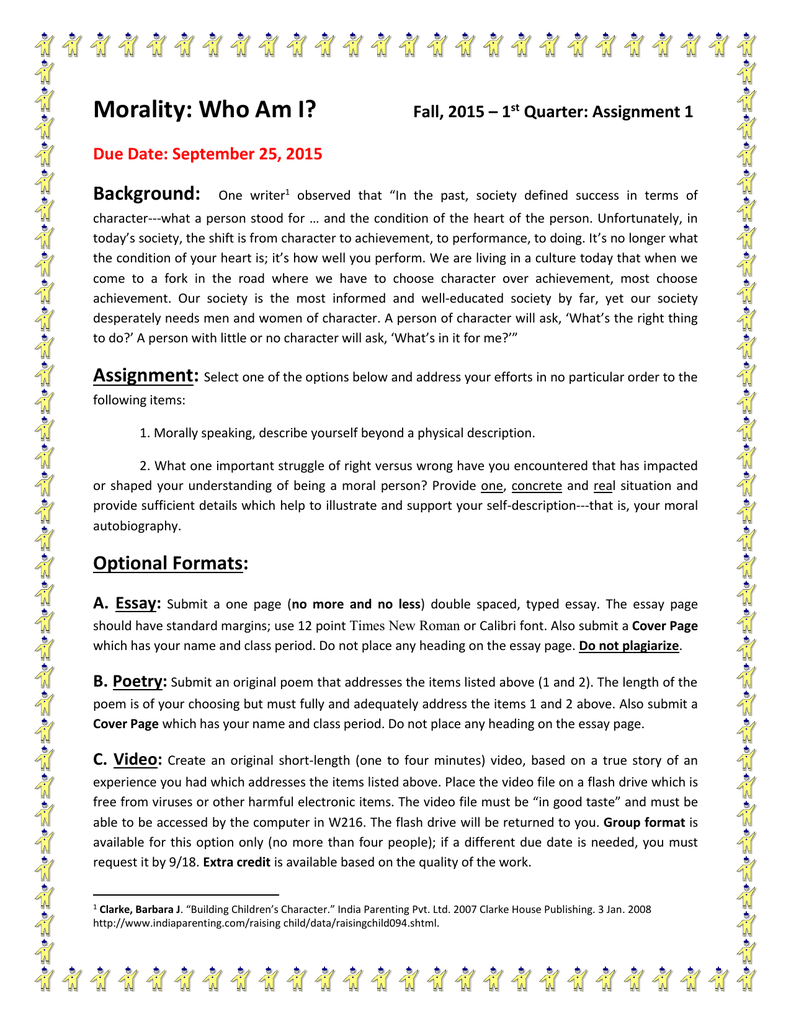 Self Description Essay  Barcafontanacountryinncom Self Description Essay Morality Who Am I Background Fall    College English Essay Topics also Online Content Writing Services  Examples Of Thesis Statements For Narrative Essays