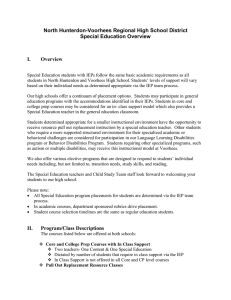 North Hunterdon-Voorhees Regional High School District Special Education Overview  I.
