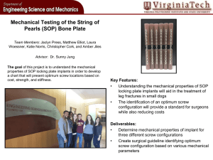 Mechanical Testing of the String of Pearls (SOP) Bone Plate