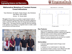 Mathematical Modeling of Transient Human Crowd Interactions
