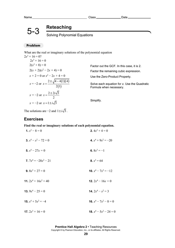 5 3 Solving Polynomial Equations Worksheet Answers Form G ...