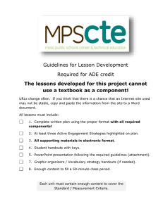 Guidelines for Lesson Development Required for ADE credit