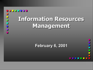 Information Resources Management February 6, 2001