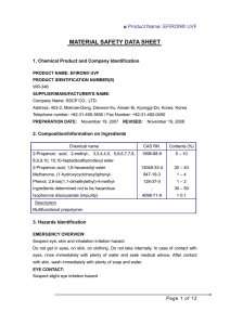 MATERIAL SAFETY DATA SHEET  1. Chemical Product and Company Identification