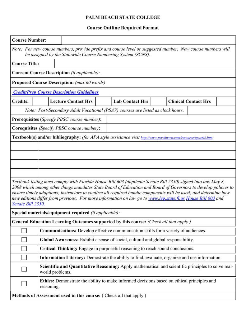 PALM BEACH STATE COLLEGE Course Outline Required Format