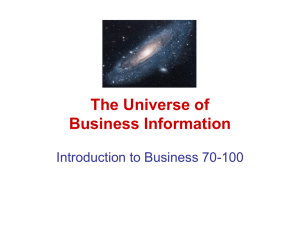 The Universe of Business Information Introduction to Business 70-100