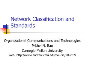 Network Classification and Standards Organizational Communications and Technologies Prithvi N. Rao