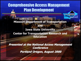Comprehensive Access Management Plan Development