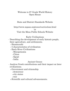 Welcome to 9 Grade World History Open House