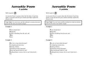 Acrostic Poem 5 points
