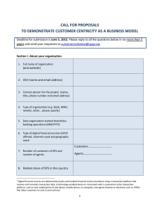 CALL FOR PROPOSALS TO DEMONSTRATE CUSTOMER CENTRICITY AS A BUSINESS MODEL