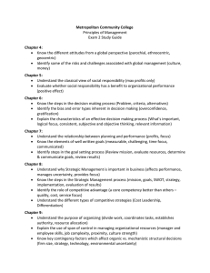 Metropolitan Community College Chapter 4: Principles of Management Exam 2 Study Guide