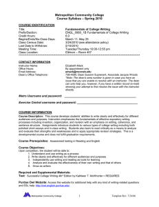 Metropolitan Community College – Spring 2010 Course Syllabus
