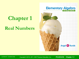 Chapter 1 Real Numbers Chapter 1-1