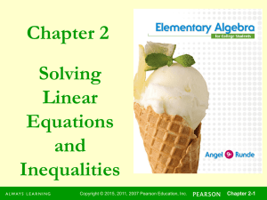 Chapter 2 Solving Linear Equations